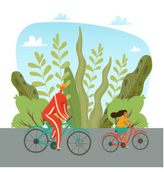 father and daughter riding on bicycles in park vector image