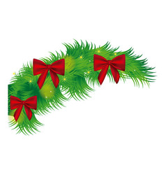 fir with christmas bow arc icon vector image