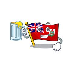 Flag bermuda isolated cartoon holding juice vector