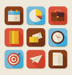 Flat Business and Office Squared App Icons Set vector
