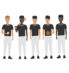 Flat school baseball guys team in uniform vector
