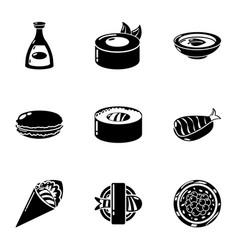 fresh whitefish icons set simple style vector image