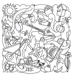 garden coloring page vector image