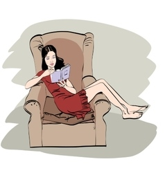 Girl at home reading a book vector