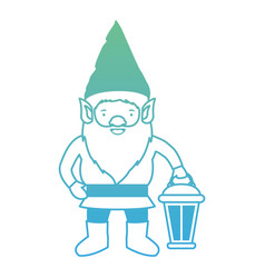 gnome with hand lamp in degraded green to blue vector image