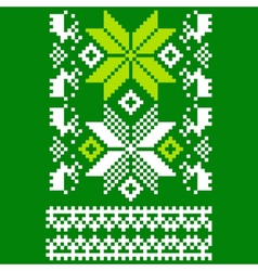 Green knitted Scandinavian scarf vector image