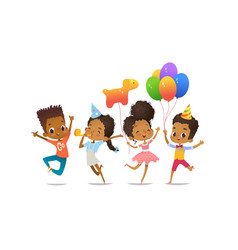Group african-american happy boys and girls vector
