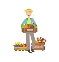 Guy Holding A Wooden Crate Full Of Fresh vector image