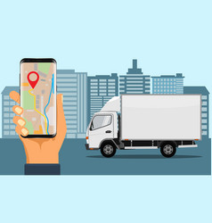 hand holding smartphone for tracking delivery vector image