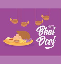 happy bhai dooj hanging lamps food indian family vector image