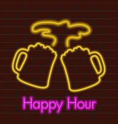 Happy hour neon poster vector