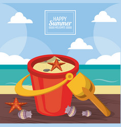 Happy summer holidays poster sand bucket starfish vector