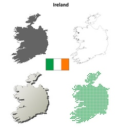 Ireland outline map set vector image