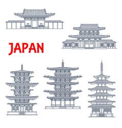 japan landmarks icons temples japanese pagodas vector image