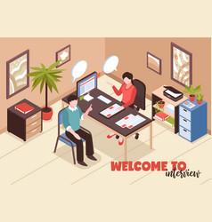 job interview isometric background vector image