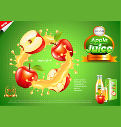 Juice ads apples in splashes background vector