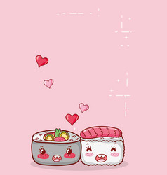 kawaii sushi and soup ramen food japanese cartoon vector image