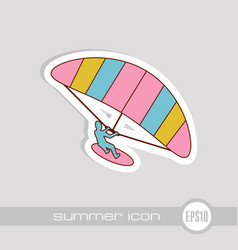 kite boarding kite surfing icon summer vacation vector image