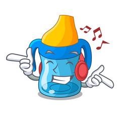 Listening music cartoon baby drinking from vector