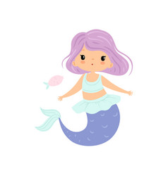little mermaid with violet hair cute sea princess vector image