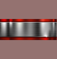 long metal brushed texture with red frame vector image