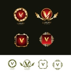 Luxury gold letter v logo vector