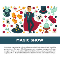 Magic show promotional poster with magician in vector
