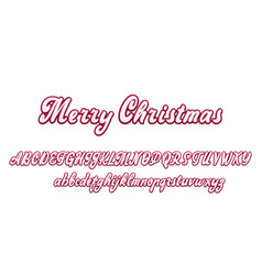 Merry christmas handwritten latin alphabet can vector