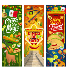 mexican cinco de mayo holiday party fiesta banners vector image