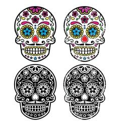 Mexican retro sugar skull Dia de los Muertos vector