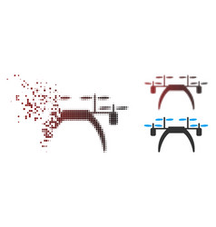 Moving pixel halftone quadcopter icon vector