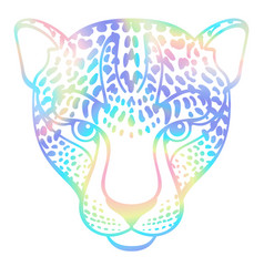 Neon holographic abstract leopard t-shirt fashion vector
