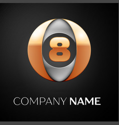 Number eight logo symbol in the colorful circle on vector