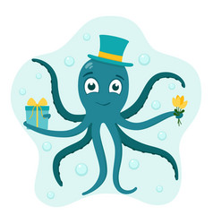 octopus in hat with gift and bouquet flowers vector image