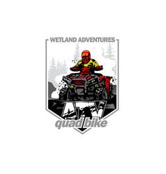 Off-road wetland adventures with quad bike vector