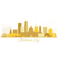 Oklahoma city skyline silhouette with golden vector