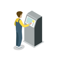 Operator assembly line isometric 3d icon vector