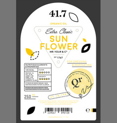 Organic extra virgin sunflower oil label vector
