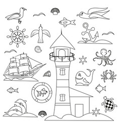 outline marine set birds and fish vector image