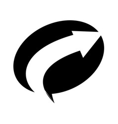 Oval arrow direction black color isolated vector