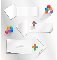Paper banners set Cube logo Perspective view vector image
