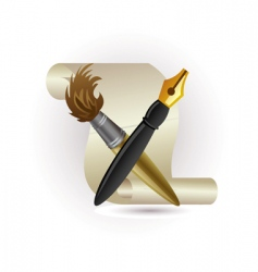 paper pen and brush vector image