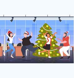 People dancing near christmas tree merry xmas vector