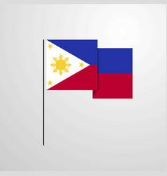 Phillipines waving flag design background vector