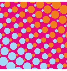 Pink background with orange and blue dots vector