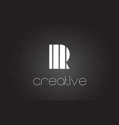 R letter logo design with white and black lines vector