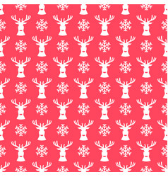 red background with deers and snowflakes vector image