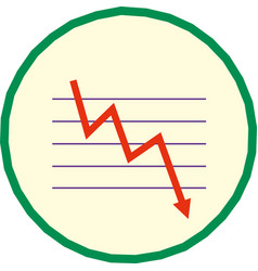 red moving down arrow financial chart vector image