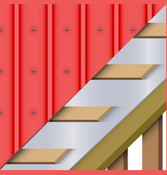 red zinc metal roofing cover and layers vector image