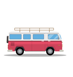 retro travel van icon vector image